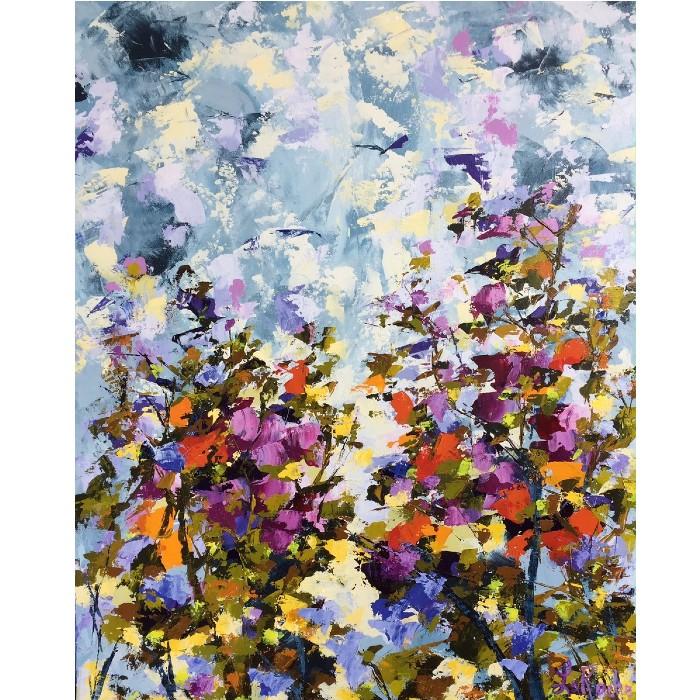 Sentir le Pollen, oeuvre de Andrée LaRoche, artiste peintre. Oeuvre abstraite réalisée à l'acrylique, sur toile etàla spatule.