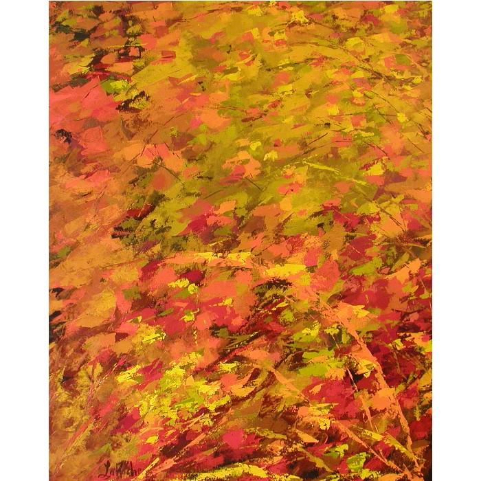 Saveur d'automne, oeuvre de Andrée LaRoche, artiste peintre. Oeuvre abstraite réalisée à l'acrylique, sur toile etàla spatule.