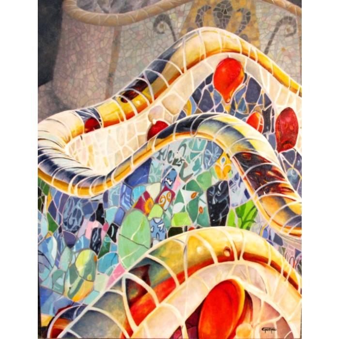 Huile sur toile del'artiste peintre Pierre Godreau - GODRO. Détail des céramiques, conçu par l'architecte Gaudi.
