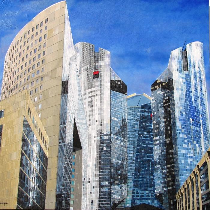 Huile sur toile del'artiste peintre Pierre Godreau - GODRO. Quartier des affaires de Paris