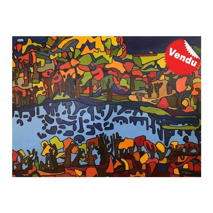 Oeuvre de style naïf inspirée par les couleurs et les ombres projetées sur le lac en automne. Une réalisation de l'artiste peintre Marie-France Pelletier