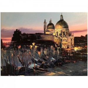 """Venise la nuit - 18""""x24"""" - Encadrée"""