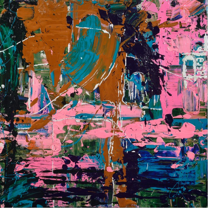 Acryliquedéversée et lancé sur le canva par l'artiste peintre Pascale Labelle.