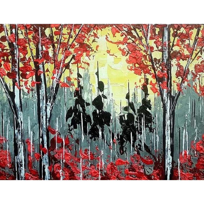 """Acrylique sur toile. Oeuvre de la collection contemporaine """"Les sous-bois"""" de l'artiste de renom Roland Tremblay du Québec, Canada"""